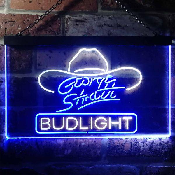 Bud Light George Strait Hat Neon-Like LED Sign
